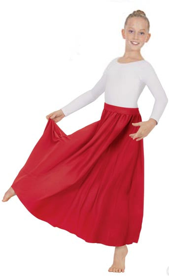 eurotard 13778 girls simplicity single panel skirt red