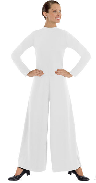 eurotard 13846 simplicity high neck jumpsuite white