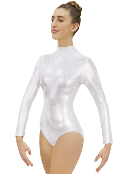 eurotard 19131 womens metallic mock neck long sleeve leotard silver