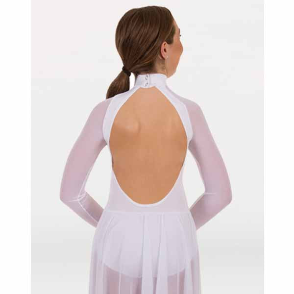 body wrappers mt151 girls microtech long sleeve dance dress back