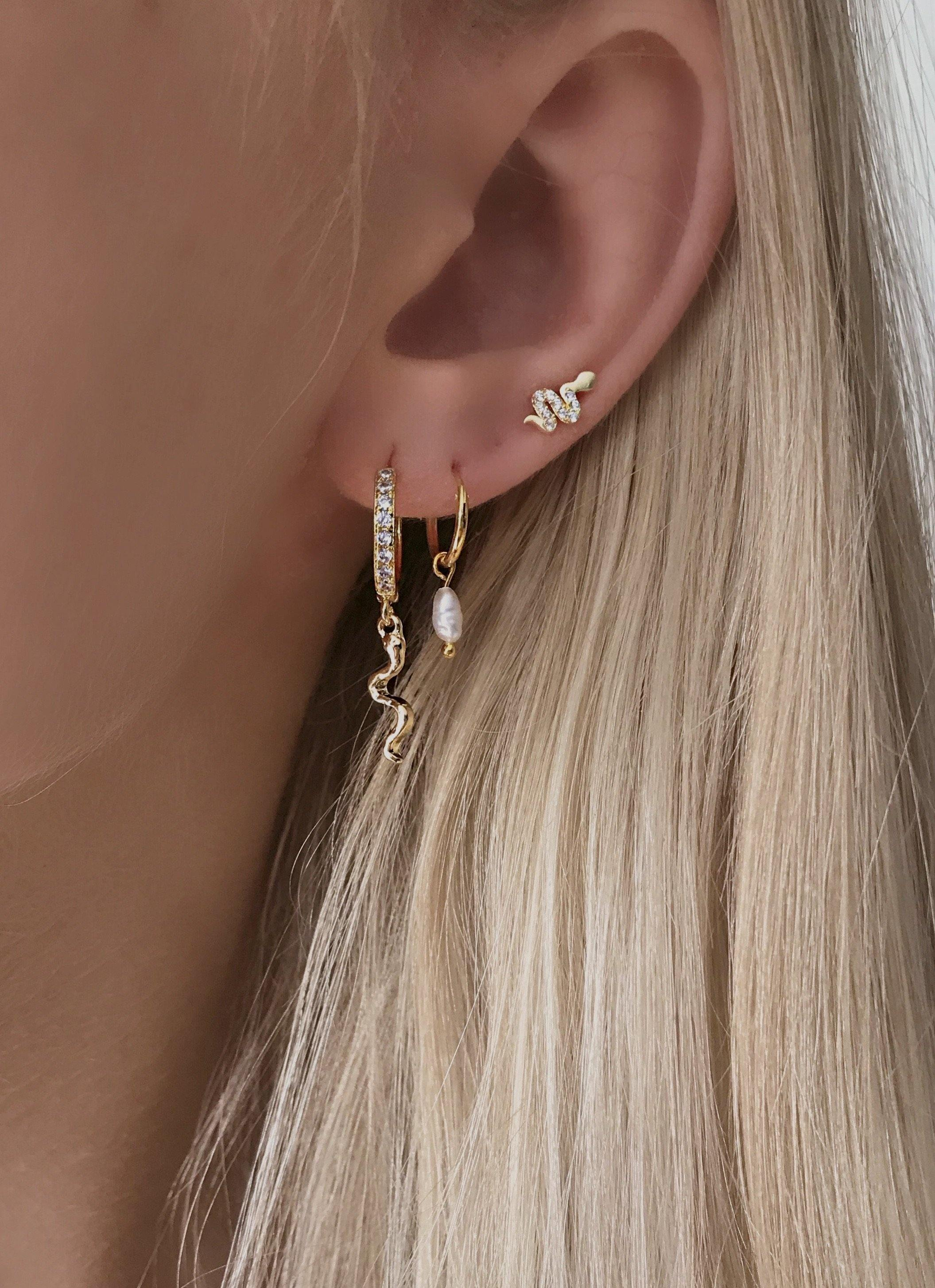 Noelle Dangle Hoops - Gold Plated. Cute petite hoops with small freshwater pearls.