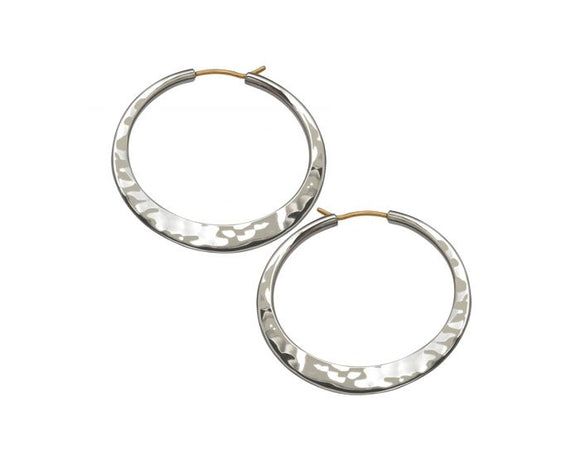Ed Levin Large Hand Hammered Sterling Silver Hoops