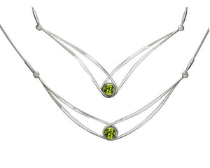 Ed Levin Gemstone Swing Sterling Silver Necklace with Faceted Peridot