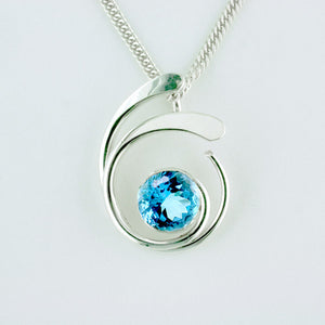 Tom Kruskal Four Curl Pendant with blue topaz