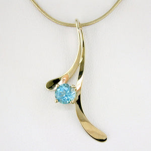 Tom Kruskal Blue Topaz Leaf Gold Pendant