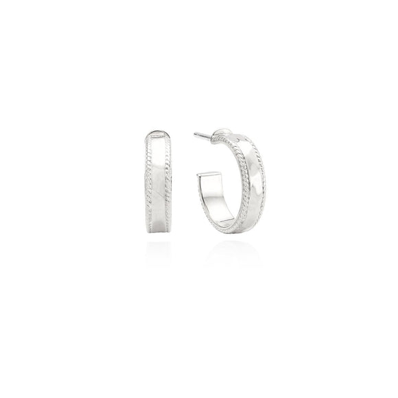 Anna Beck Small Silver Hammered Hoop Earrings