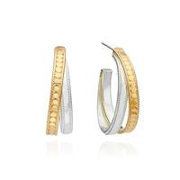 Anna Beck Crossover Gold and Sterling Silver Hoop Earrings