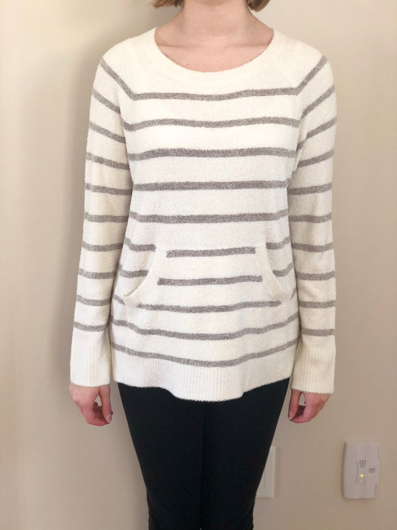 Barefoot Dreams Striped Pearl Raglan Pullover Medium