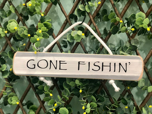 "On Cape Time ""Gone Fishin'"" Rope Sign"