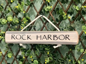 "On Cape Time ""Rock Harbor"" Rope Sign"