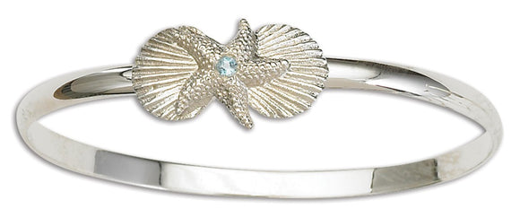 D'Amico Sterling Silver Starfish and Shell Bangle with Blue Topaz
