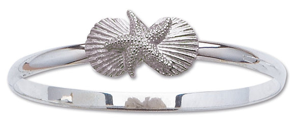 D'Amico Sterling Silver Large Three Shell Bangle