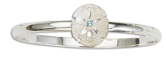 D'Amico Sterling Silver Sand Dollar Bangle with Blue Topaz