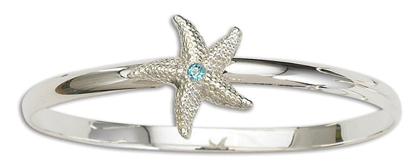 D'Amico Sterling Silver Starfish Bangle with Blue Topaz