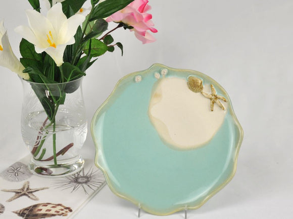 Mussels & More NP-D-A-2 Nautical Dinner Plate Aqua