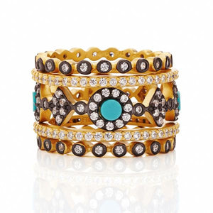 Freida Rothman Color Theory Turquoise 5-Stack Rings