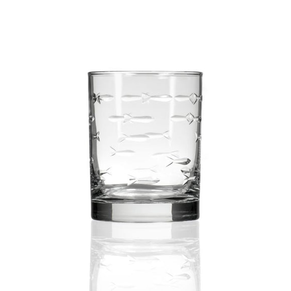 Rolf School of Fish Double Old Fashioned Glass