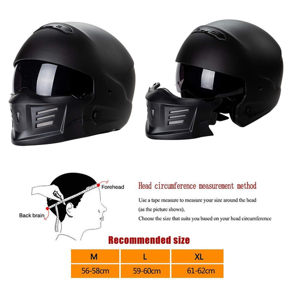 Adult Ghost Warrior Motorcycle Full Face Helmet Removable Chin Change Shape