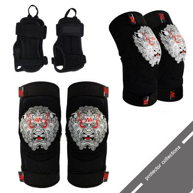 Generation 3 Foo Dog Collection Includes Kevlar Knee and Elbow Pads, Wrist Supports