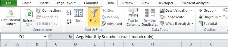 Filtering the spreadsheet