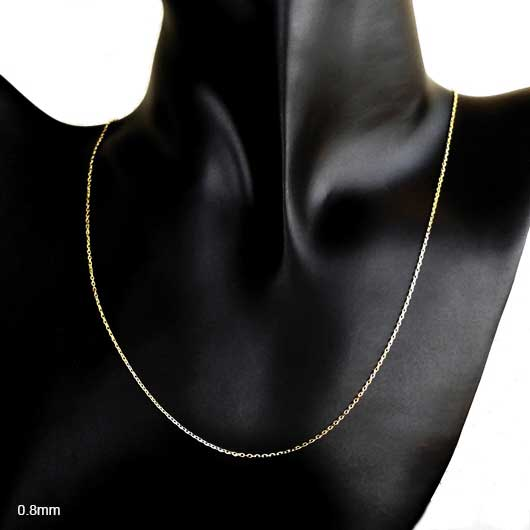 (0.8mm, 1mm) 14K Solid Yellow Gold Cable Chain Necklace