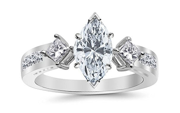 1.95 Ctw 14K White Gold Channel Set 3 Three Stone Princess Marquise Cut GIA Certified Diamond Engagement Ring (1.2 Ct E Color SI1 Clarity Center Stone)