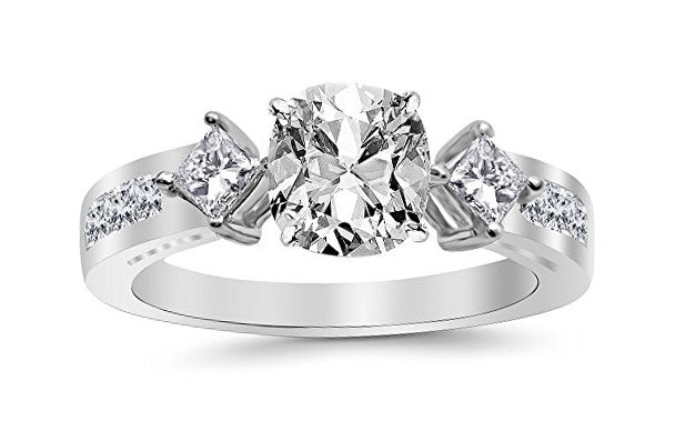 2.25 Ctw 14K White Gold Channel Set 3 Three Stone Princess GIA Certified Diamond Engagement Ring Cushion Cut (1.5 Ct F Color VVS2 Clarity Center Stone)