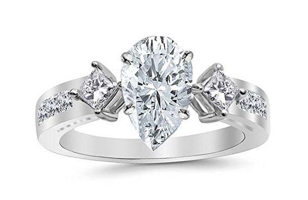 3.75 Ctw 14K White Gold Channel Set 3 Three Stone Princess Pear Cut GIA Certified Diamond Engagement Ring (3 Ct K Color VS2 Clarity Center Stone)