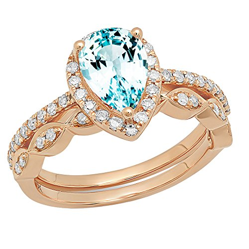 CERTIFIED   14K 9X6 MM Pear Gemstone & Round Diamond Ladies Engagement Ring With Matching Band Set, Rose Gold