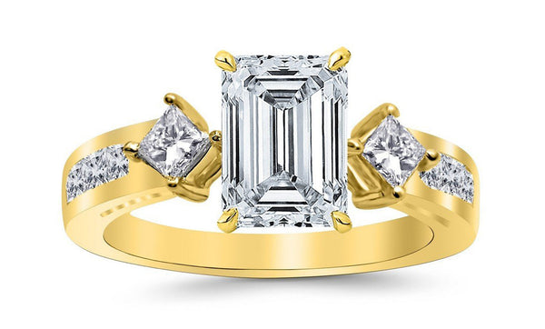 2.25 Ctw 14K White Gold Channel Set 3 Three Stone Princess Emerald Cut GIA Certified Diamond Engagement Ring (1.5 Ct D Color VS2 Clarity Center Stone)