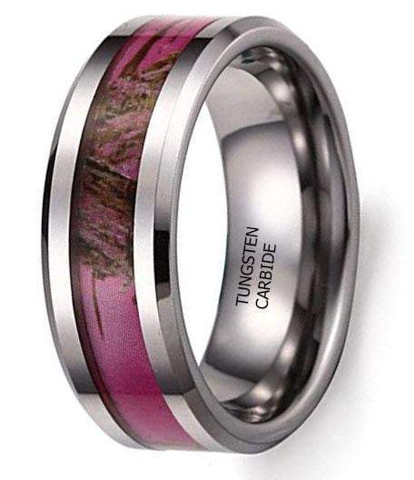 CERTIFIED 8MM Hunting Camouflage Tungsten Wedding Band Pink Camo Ring