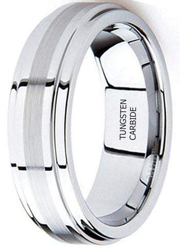 CERTIFIED 8mm Tungsten Carbide Ring Wedding Band Brushed Center High Polish