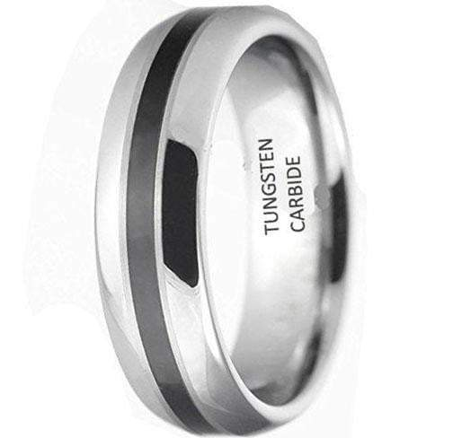 CERTIFIED 8MM NightDome Inlay Black Tungsten Carbide Wedding Band Ring