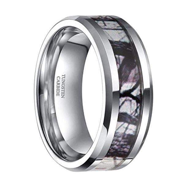 CERTIFIED 8mm Tungsten Gray Camouflage Rings Wedding Band.