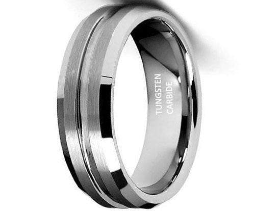 CERTIFIED 7mm Groved Tungsten Wedding Band