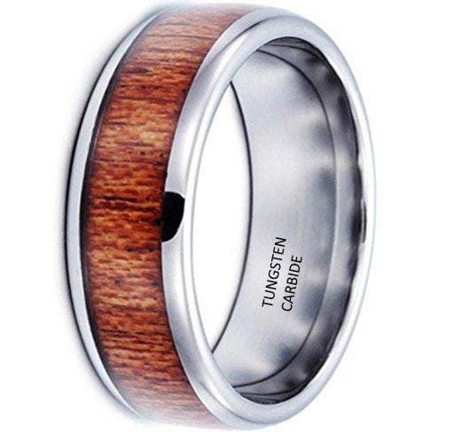 CERTIFIED 8mm Tungsten Carbide Ring Vintage Woodiness Wooden Wedding Engagement Promise Band
