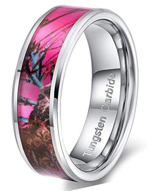CERTIFIED 8mm Tungsten Carbide Ring Pink Camouflage Hunting Camo Band.