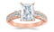 3.5 Ctw 14K White Gold Three 3 Stone Princess Cut Channel Set Radiant Cut GIA Certified Diamond Engagement Ring (3 Ct H Color SI2 Clarity Center Stone)