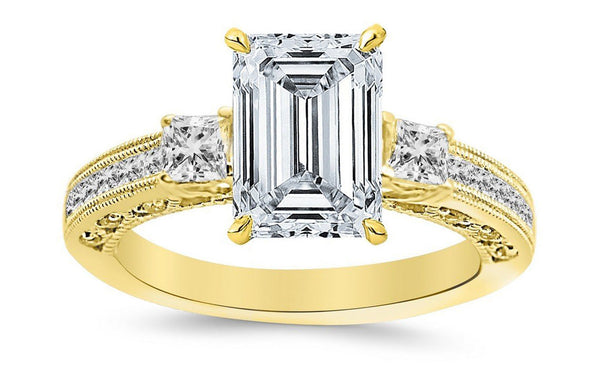 1.4 Ctw 14K White Gold Three 3 Stone Princess Cut Channel Set Emerald Cut GIA Certified Diamond Engagement Ring (0.9 Ct K Color VS1 Clarity Center Stone)