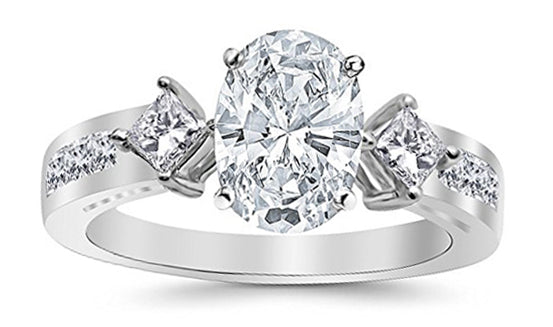 1.75 Ctw 14K White Gold Channel Set 3 Three Stone Princess Oval Cut GIA Certified Diamond Engagement Ring (1 Ct G Color SI2 Clarity Center Stone)