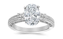 2 Ctw 14K White Gold Three 3 Stone Princess Cut Channel Set Oval Cut GIA Certified Diamond Engagement Ring (1.5 Ct G Color SI2 Clarity Center Stone)