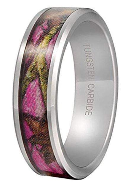 CERTIFIED 6mm Tungsten Pink Camo Tree Leaf Pattern Hunting Camouflage Band.