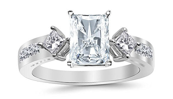 3.26 Ctw 14K White Gold Channel Set 3 Three Stone Princess Radiant Cut GIA Certified Diamond Engagement Ring (2.51 Ct I Color VS2 Clarity Center Stone)