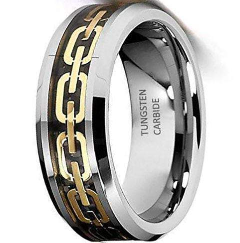 CERTIFIED 8mm Chain Link Inlay Tungsten Wedding Band