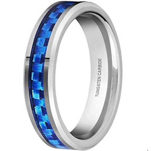 CERTIFIED 4mm Tungsten Carbide Blue, Pink, and Purple Carbon Fiber Inlay Wedding Band