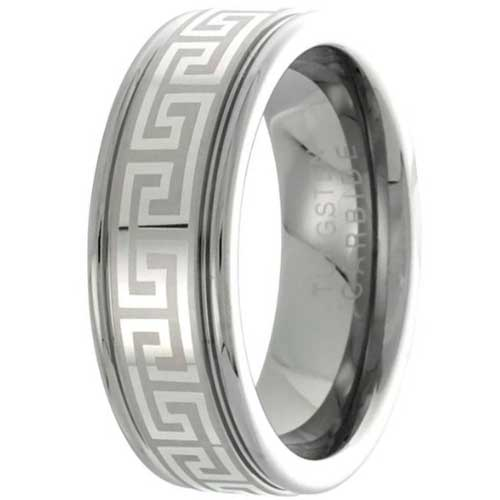 CERTIFIED 8mm Flat Wedding Band Ring Greek Key Pattern Grooved Edges.