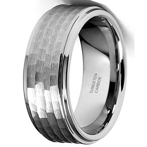 CERTIFIED 9mm Hammered Men's Tungsten Wedding Band