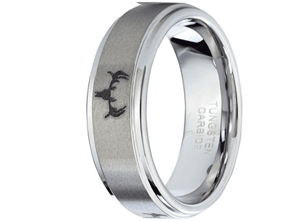 CERTIFIED 8mm Tungsten Ring Deer Head Hunting Men's Ring Wedding Band