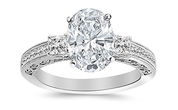 1.5 Ctw 14K White Gold Three 3 Stone Princess Cut Channel Set Oval Cut GIA Certified Diamond Engagement Ring (1 Ct E Color VVS2 Clarity Center Stone)