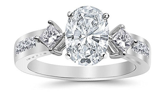 2.46 Ctw 14K White Gold Channel Set 3 Three Stone Princess Oval Cut GIA Certified Diamond Engagement Ring (1.71 Ct J Color SI2 Clarity Center Stone)